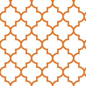 quatrefoil LG orange on white