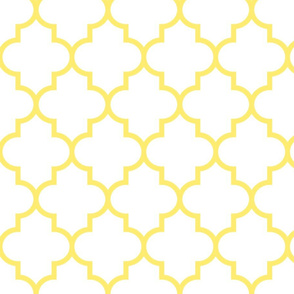 quatrefoil LG lemon yellow on white