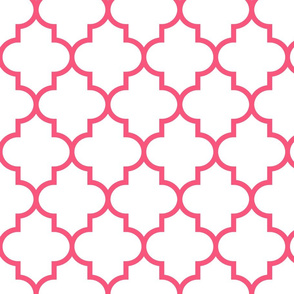 quatrefoil LG hot pink on white