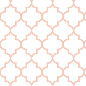 quatrefoil LG blush on white #F9CABA