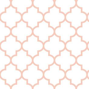 quatrefoil LG blush on white #F9CABA