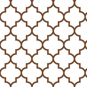 quatrefoil LG chocolate brown on white