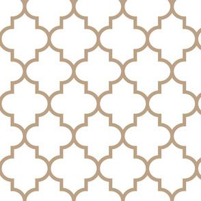 quatrefoil LG tan on white