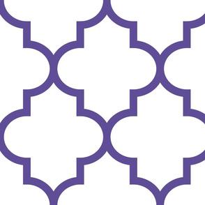 quatrefoil XL purple on white