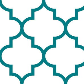 quatrefoil XL dark teal on white
