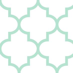 quatrefoil XL mint green on white