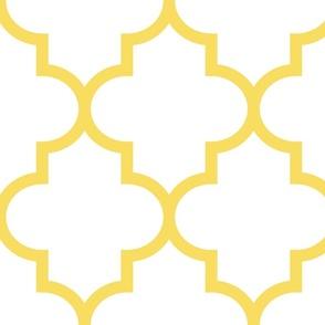 quatrefoil XL butter yellow on white