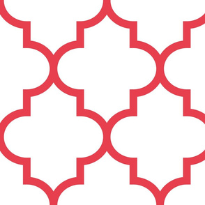quatrefoil XL bold coral on white