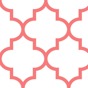 quatrefoil XL coral on white