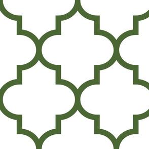 quatrefoil XL hunter green on white