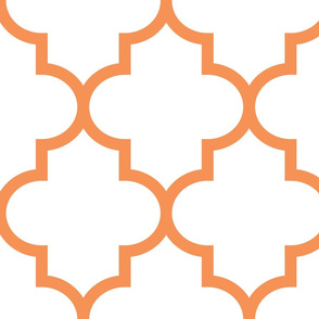 quatrefoil XL tangerine on white