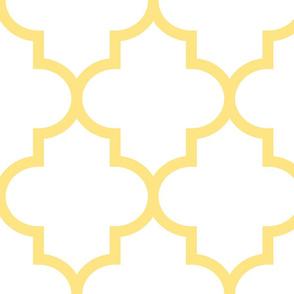 quatrefoil XL sunshine yellow on white