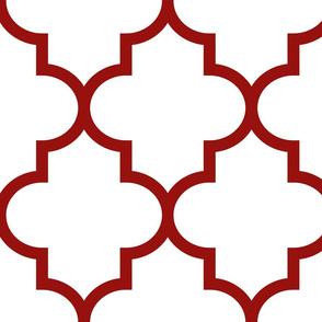 quatrefoil XL dark red on white