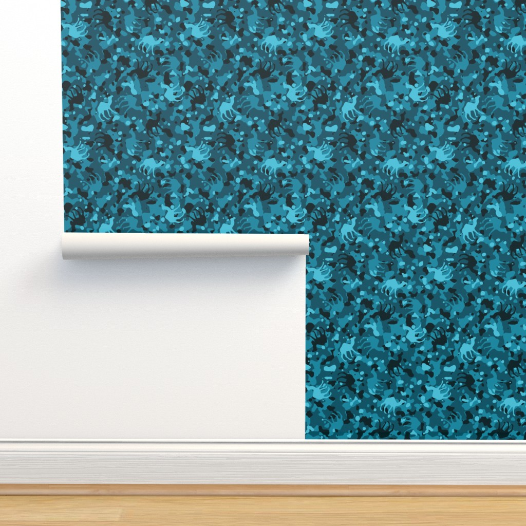 Isobar Durable Wallpaper featuring Teal Camelflage by binge_crafter