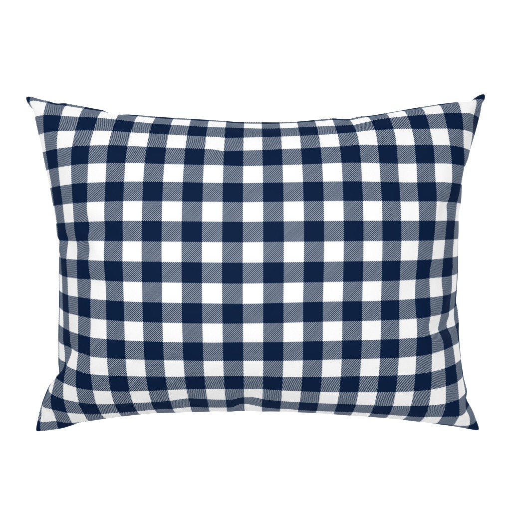 """Campine Pillow Sham featuring 1"""" Navy check - plaid by littlearrowdesign"""