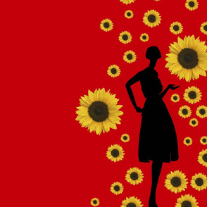 Oh Oh Fashion Velvet Red with Sunflowers