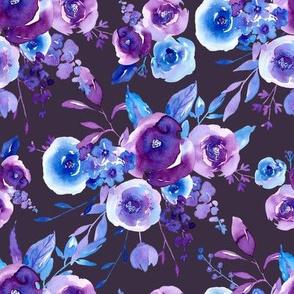 Watercolor ultraviolet flowers
