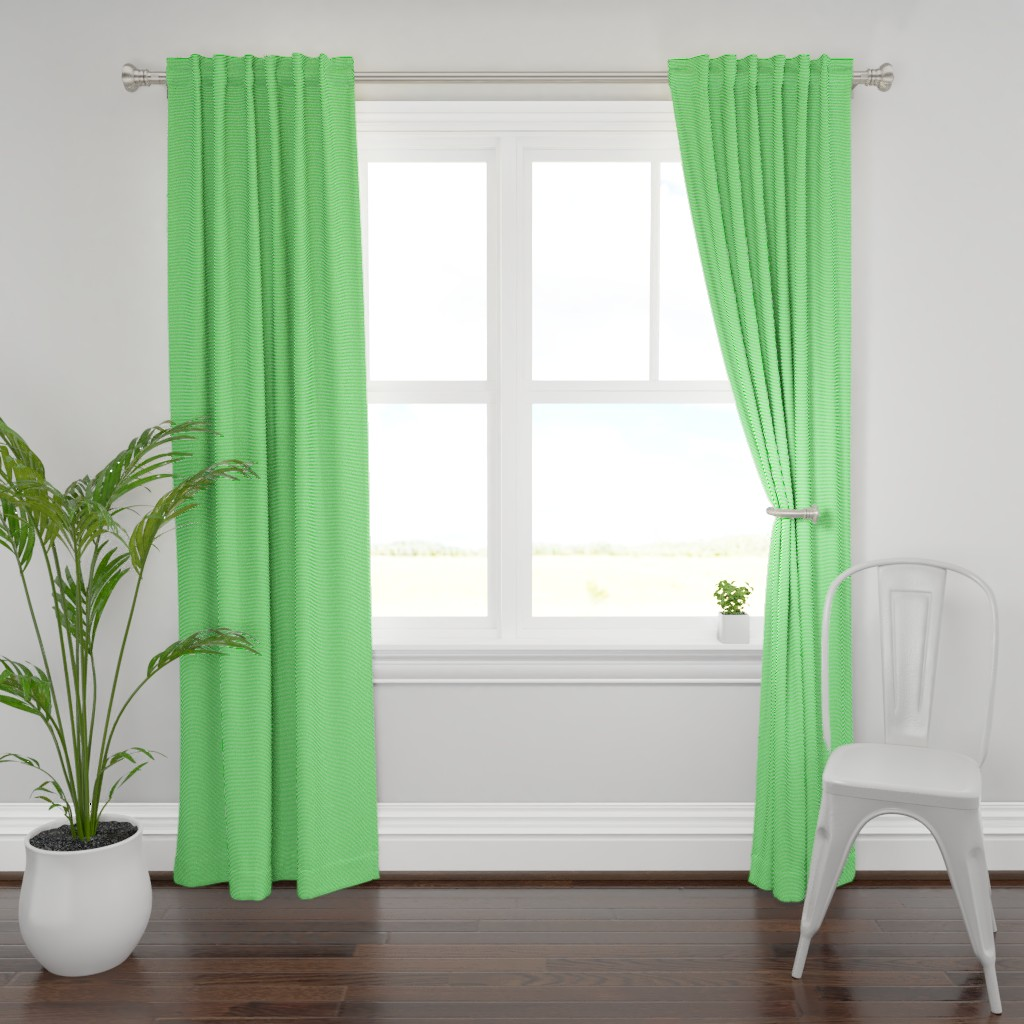 Plymouth Curtain Panel featuring pinstripes ultra lime green by misstiina