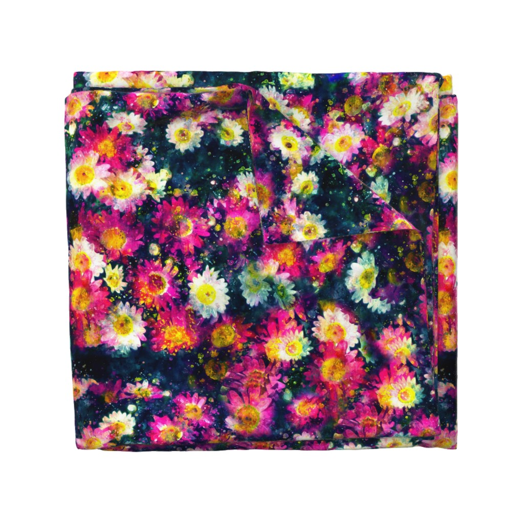 Wyandotte Duvet Cover featuring Painterly Daisies by cellesria