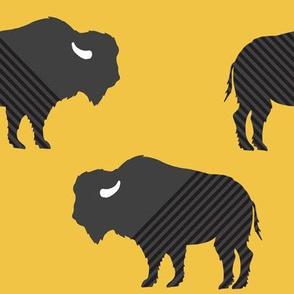 Buffalo Stripe on Mustard Gold Yellow