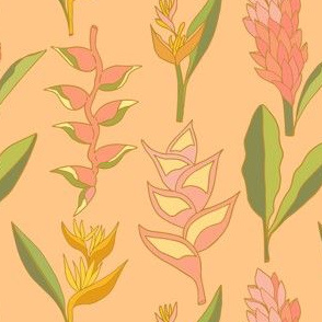 Coral Tropical Floral on Peachy nude