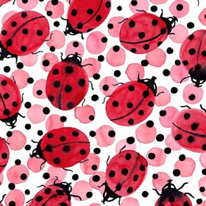 Ladybugs on red and black dots, watercolor