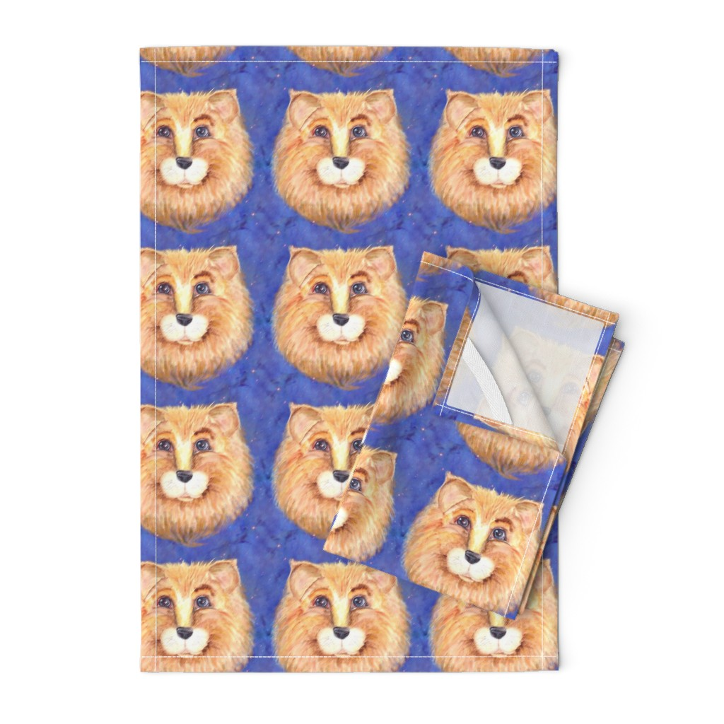 Orpington Tea Towels featuring THE BLUE EYED CUTE FELINE LION CAT STARRY SKY by paysmage