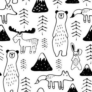 monochrome bear mountain- black and white