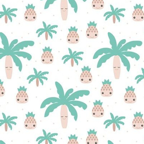Cute summer spring kawaii tropical island palm trees and pineapples kids design gender neutral mint
