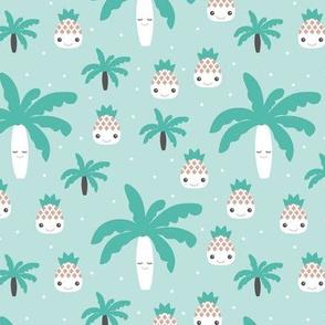 Cute summer spring kawaii tropical island palm trees and pineapples kids design gender neutral mint blue