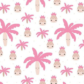 Cute summer spring kawaii tropical island palm trees and pineapples kids design soft pink