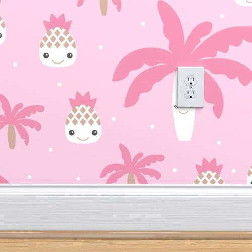 Wallpaper Cute Summer Spring Kawaii Tropical Island Palm Trees And Pineapples Kids Design Pastel Pink