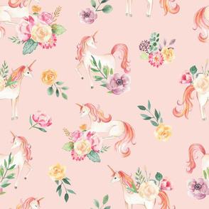 Botanical Unicorns Dusty Rose / Watercolor Unicorns / Spring Flowers / Botanical / Nursery