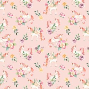 SMALL Botanical Unicorns Dusty Rose / Watercolor Unicorns / Spring Flowers / Botanical / Nursery