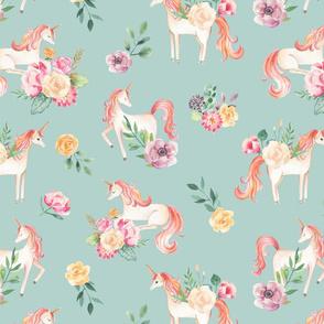 SMALL Botanical Unicorns Blue Green/ Watercolor Unicorns / Spring Flowers / Botanical / Nursery