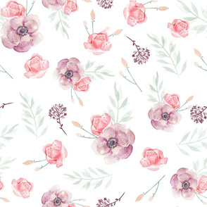 Spring Flower Watercolor Fabric / Romantic Spring Pink Violet Flowers