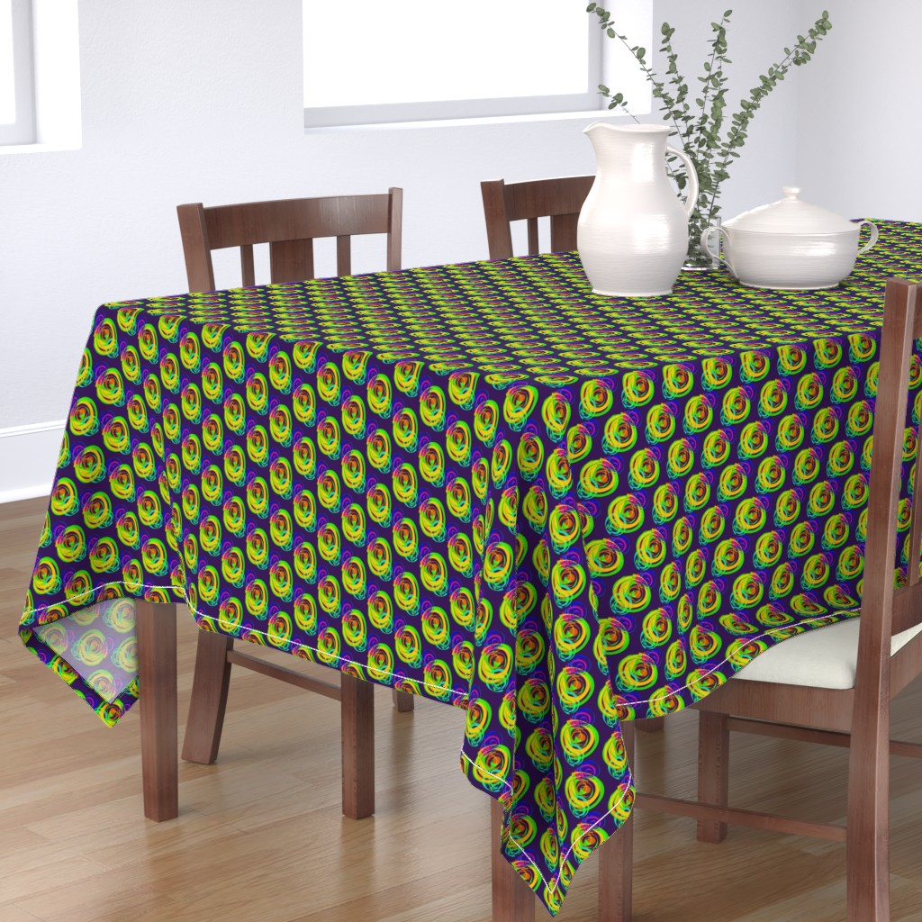 Bantam Rectangular Tablecloth featuring Luminous Swirly Spirals on Dark Mulberry - Small Scale by rhondadesigns