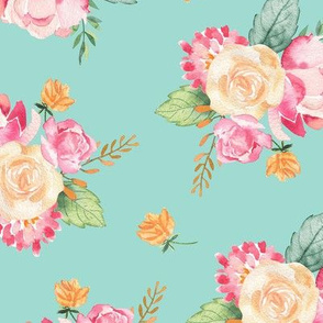 Spring Floral Bouquet /Blue Green / Watercolor Flower/ Pink and Green/ Foliage