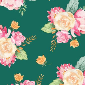 Spring Floral Bouquet / Green / Watercolor Flower/ Pink and Green/ Foliage