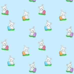 Westie Easter Bunny w Egg
