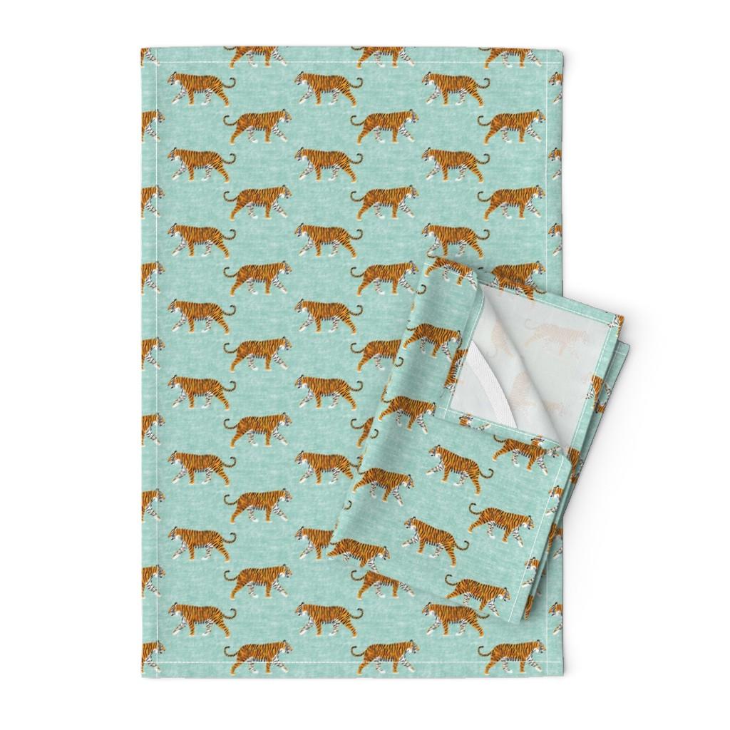 Orpington Tea Towels featuring walking tiger on dark mint (woven) by littlearrowdesign