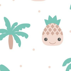 Cute summer spring kawaii tropical island palm trees and pineapples kids design soft mint XXL Jumbo
