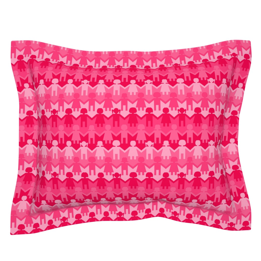 Sebright Pillow Sham featuring Sisterhood Paper Chain in Pink by thewellingtonboot