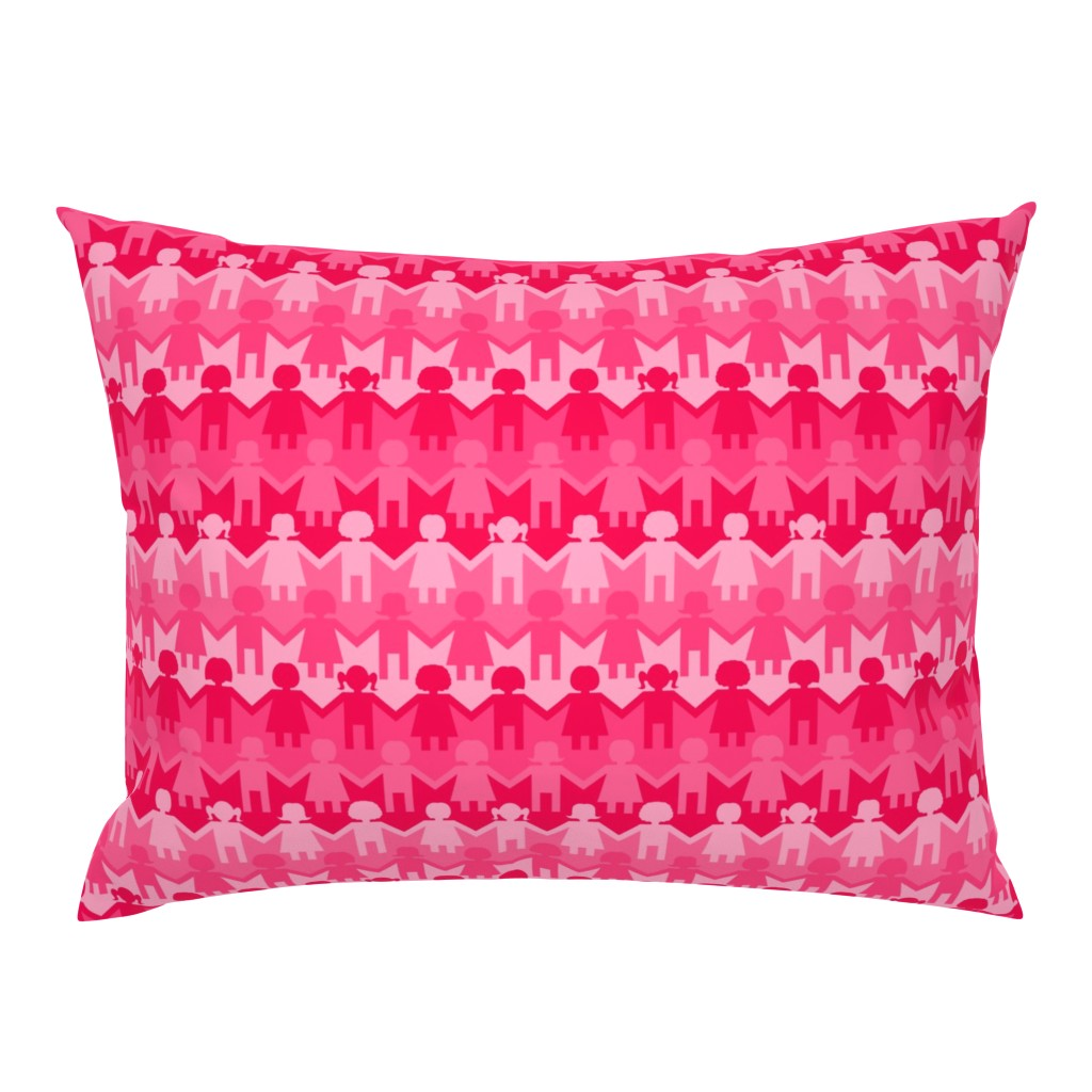 Campine Pillow Sham featuring Sisterhood Paper Chain in Pink by thewellingtonboot