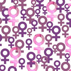 Sisterhood icons geometric women symbols purple and pink