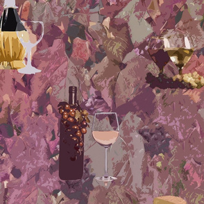 Wine and Cheese Pattern Print