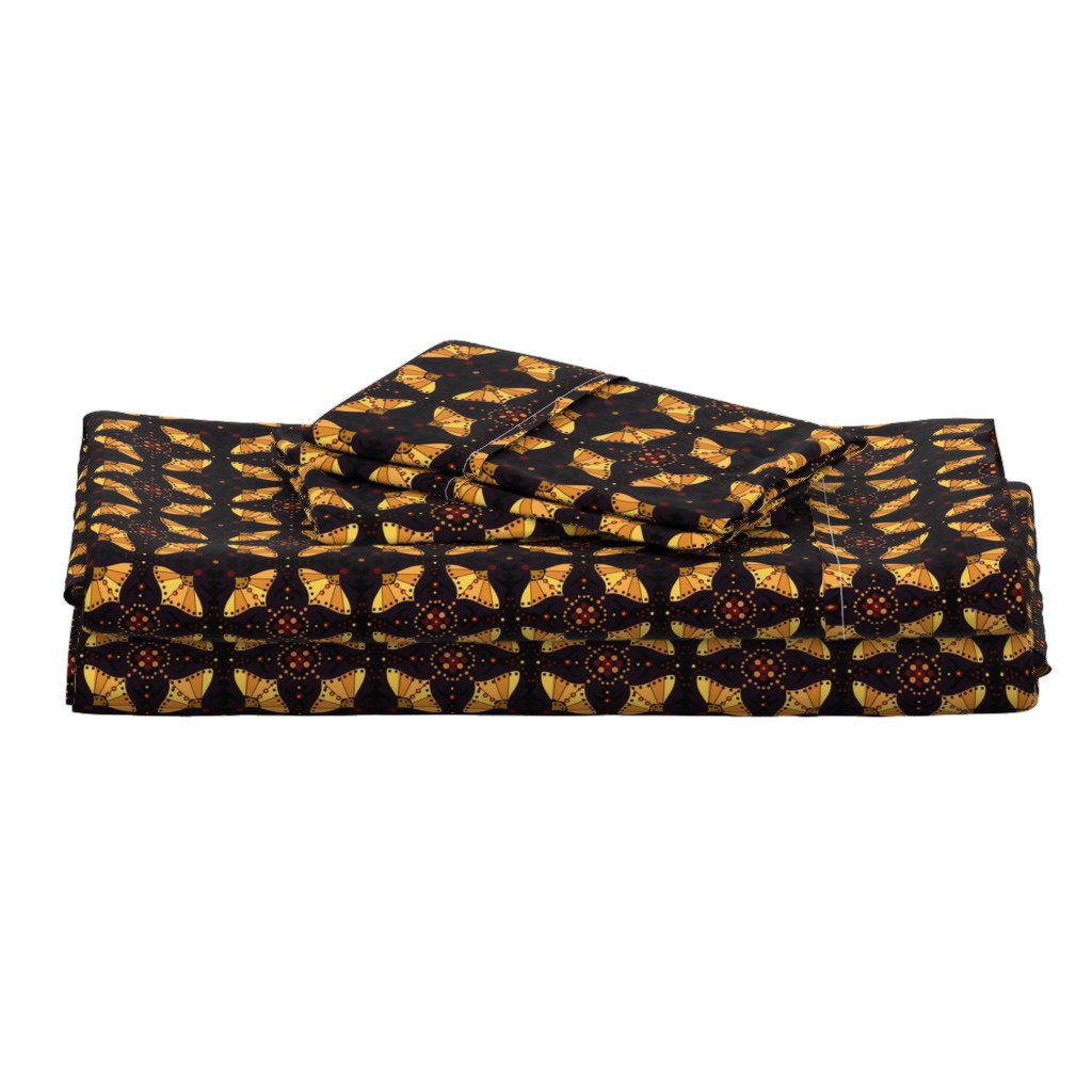Langshan Full Bed Set featuring Black and Gold Boho Chic by cherie