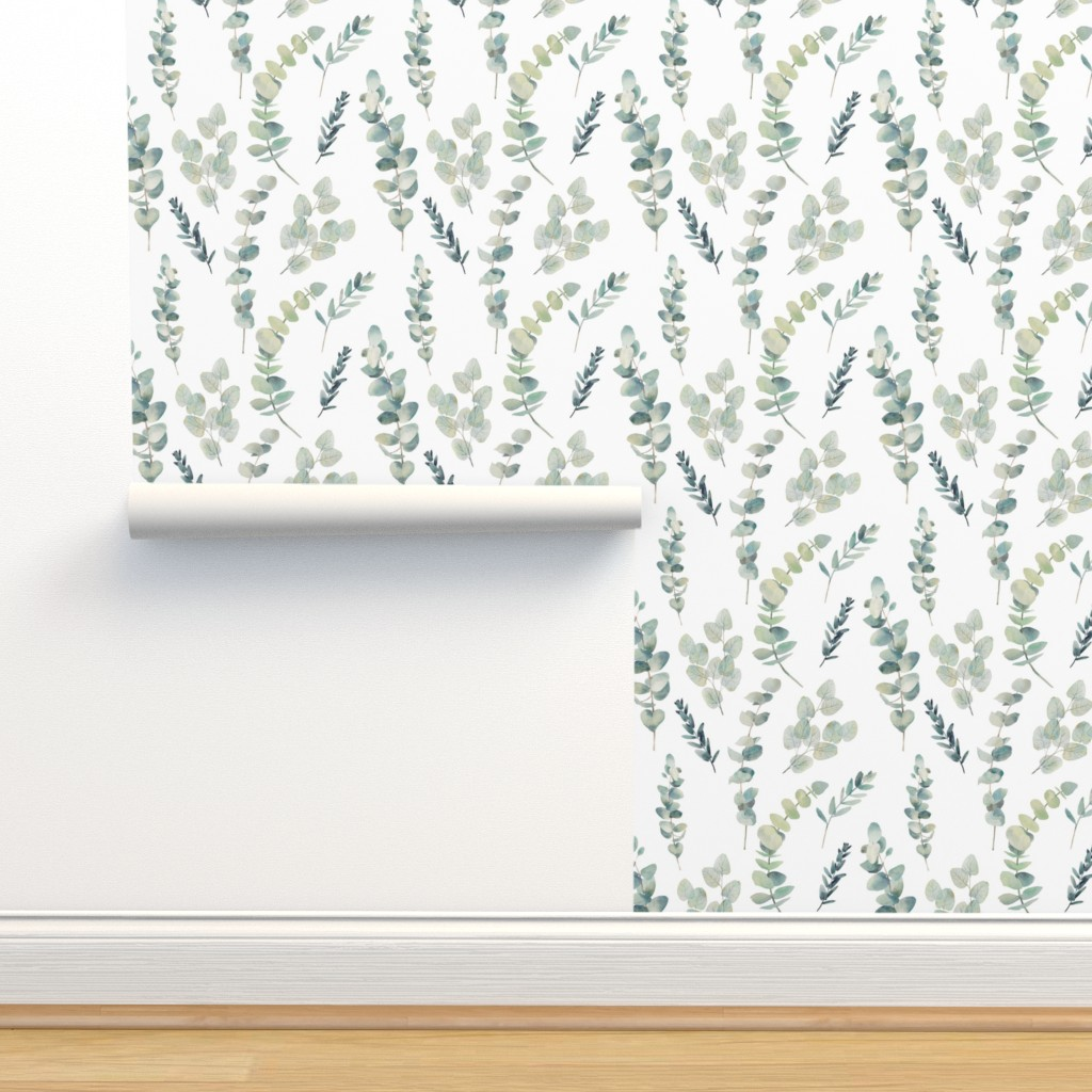 Isobar Durable Wallpaper featuring Silver Dollar Eucalyptus by hipkiddesigns