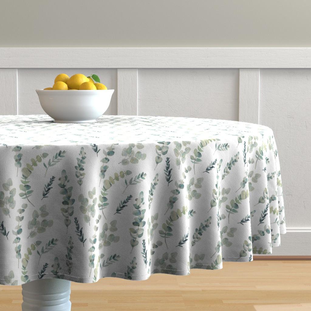 Malay Round Tablecloth featuring Silver Dollar Eucalyptus by hipkiddesigns
