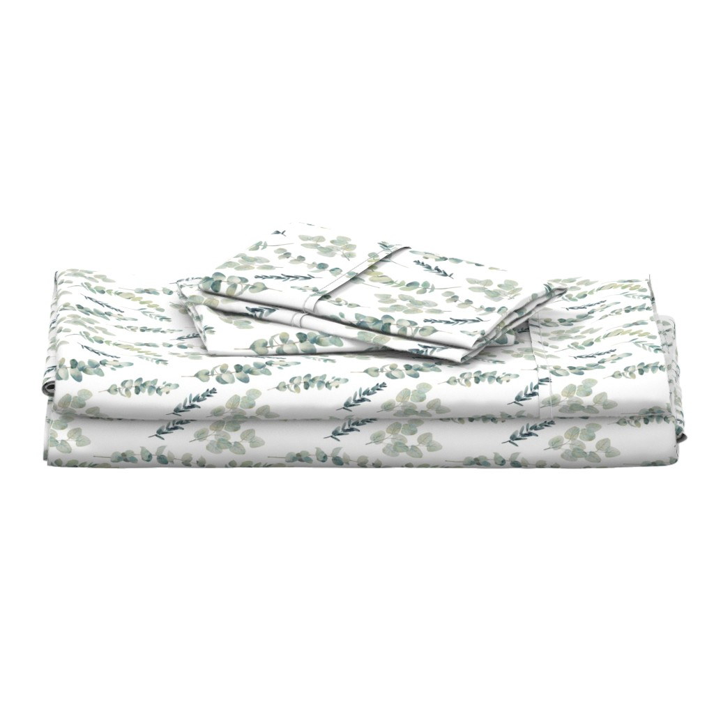 Langshan Full Bed Set featuring Silver Dollar Eucalyptus by hipkiddesigns